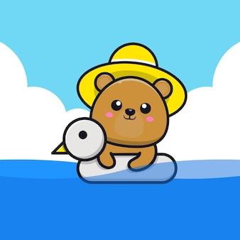 Urso fofo nadando com ilustração dos desenhos animados do anel de natação