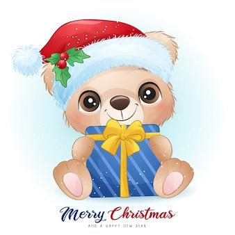 Urso fofo no dia de natal com ilustração em aquarela