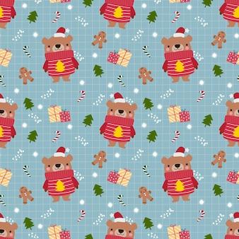 Urso fofo no padrão sem emenda do tema de natal