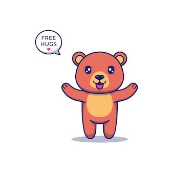 Urso fofo oferecendo um abraço grátis