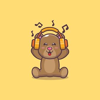 Urso fofo ouvindo música com ilustração em vetor desenho com fone de ouvido