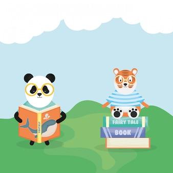 Urso fofo panda lendo livro e tigre em livros