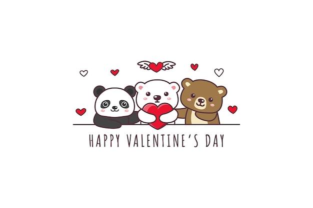 Urso fofo, panda, urso polar desenhando um feliz dia dos namorados