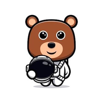 Urso fofo personagem de desenho animado de astronauta