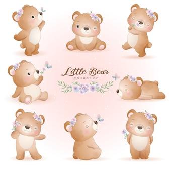 Urso fofo posa com ilustração floral