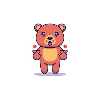 Urso fofo posando sinal de amor com as mãos