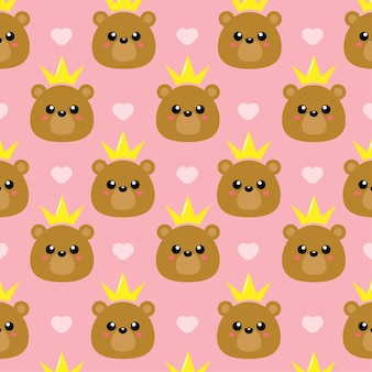 Urso fofo princesa padrão sem emenda