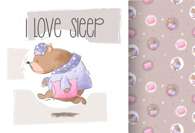 Urso fofo quer dormir sem costura padrão