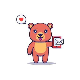Urso fofo recebendo uma mensagem no smartphone