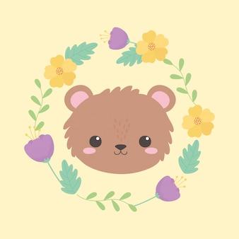 Urso fofo rostinho animal desenho amarelo ilustração vetorial