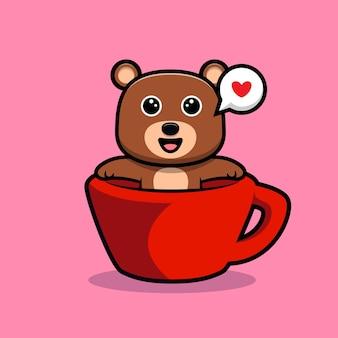 Urso fofo se sentindo feliz dentro do personagem de desenho animado do copo