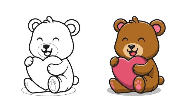 Urso fofo segurando desenho de amor para colorir