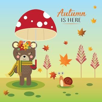 Urso fofo segurando guarda-chuva de cogumelo