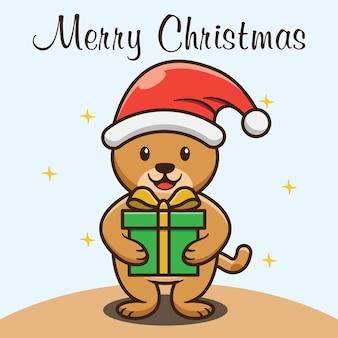 Urso fofo segurando o design da caixa de presente de natal