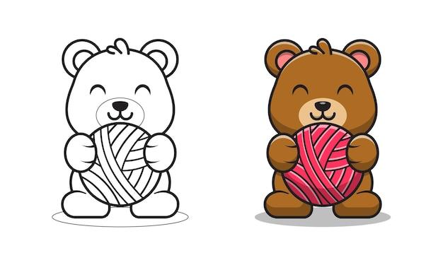 Urso fofo segurando páginas para colorir de desenho de bola de lã para crianças