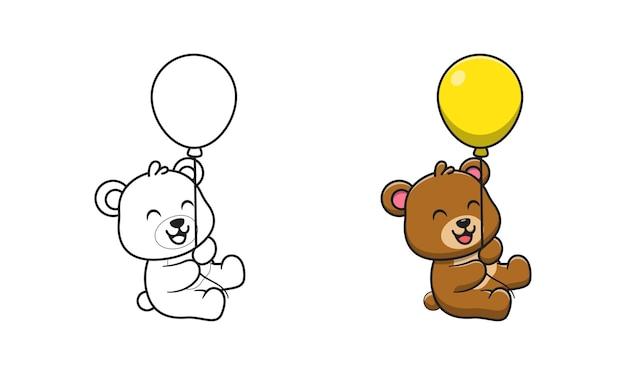 Urso fofo segurando um balão de desenho para colorir