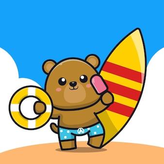 Urso fofo segurando uma argola de banho de sorvete e ilustração dos desenhos animados da prancha de surf