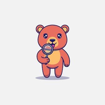 Urso fofo segurando uma lupa