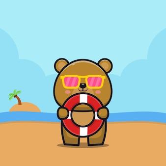 Urso fofo segurar anel de natação ilustração dos desenhos animados conceito de verão animal
