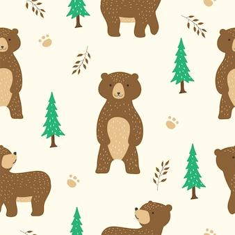 Urso fofo sem costura padrão para papel de parede