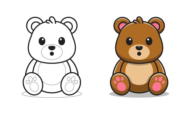 Urso fofo sentado desenho para colorir