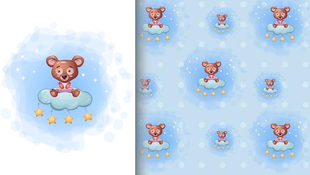 Urso fofo sentado na nuvem estrela cartoon ilustração e padrão sem emenda