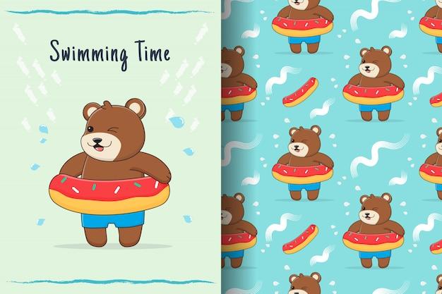 Urso fofo sobremesa nadar anel padrão sem emenda e cartão