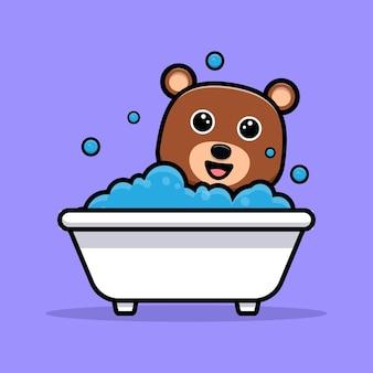 Urso fofo tomando banho, personagem de desenho animado