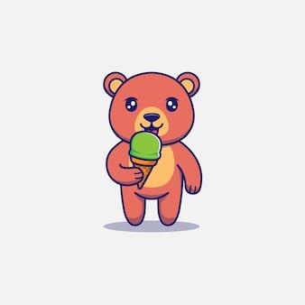 Urso fofo tomando sorvete