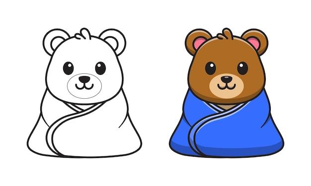 Urso fofo usando desenho de cobertor para colorir