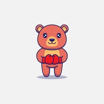 Urso fofo usando luvas de boxe