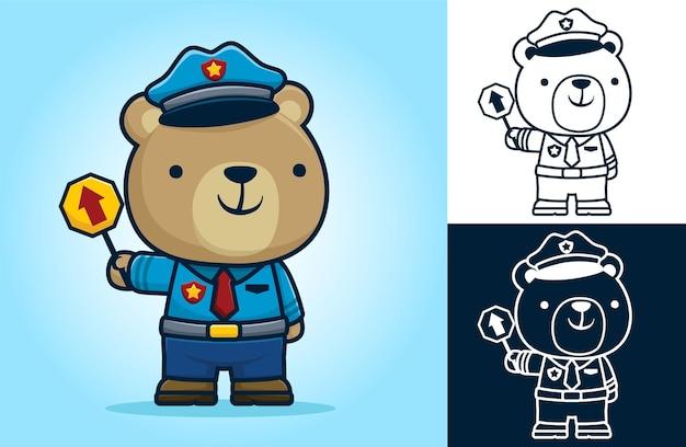 Urso fofo vestindo a fantasia de policial de trânsito em pé, segurando um sinal de trânsito. ilustração dos desenhos animados em estilo de ícone plano