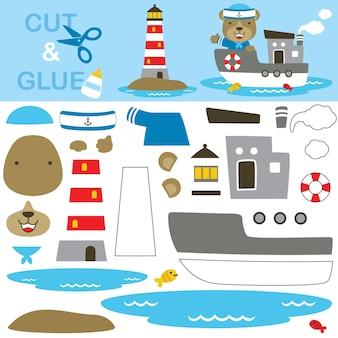 Urso fofo vestindo fantasia de marinheiro no barco enquanto levanta a mão com o farol. jogo de papel para crianças. recorte e colagem.
