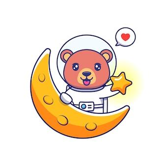 Urso fofo vestindo terno de astronauta carregando estrela