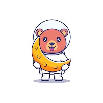 Urso fofo vestindo terno de astronauta carregando lua