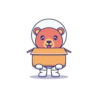 Urso fofo vestindo terno de astronauta carregando um papelão