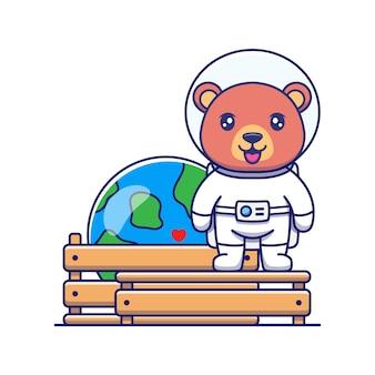 Urso fofo vestindo terno de astronauta com a miniatura do planeta terra