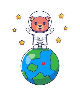 Urso fofo vestindo terno de astronauta em pé no planeta terra