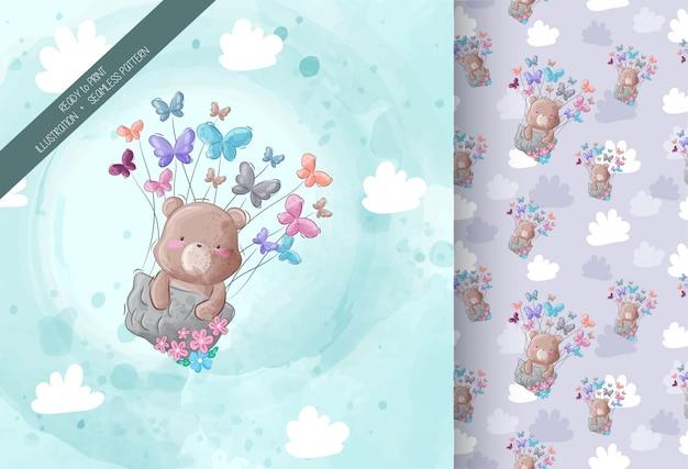 Urso fofo voando com padrão sem emenda de borboleta