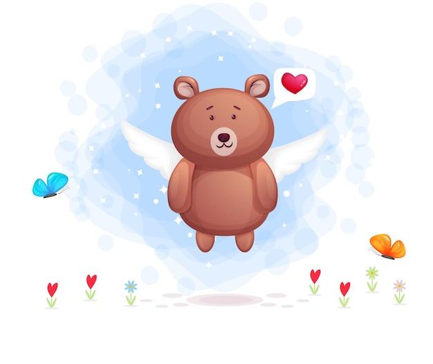 Urso fofo voando e bate-papo da bolha do coração