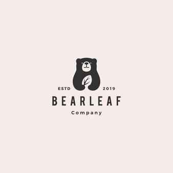 Urso folha deixa o logotipo de natureza natural