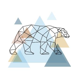 Urso geométrico abstrato.