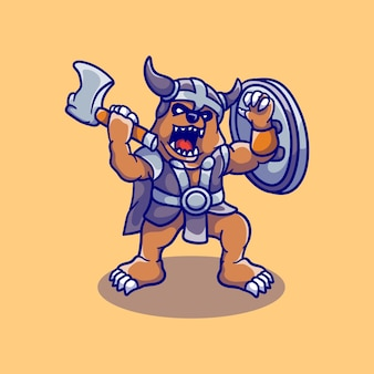 Urso grande fofo e zangado viking