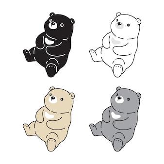 Urso ícone polar personagem de desenho animado