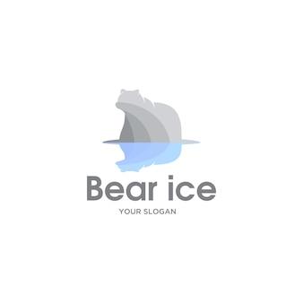 Urso ilustração abstrata logotipo de gelo