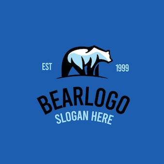 Urso ilustração do logotipo retrô vintage
