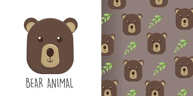 Urso ilustração e padrão sem emenda