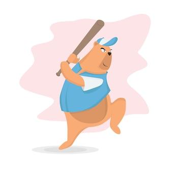 Urso jogando beisebol