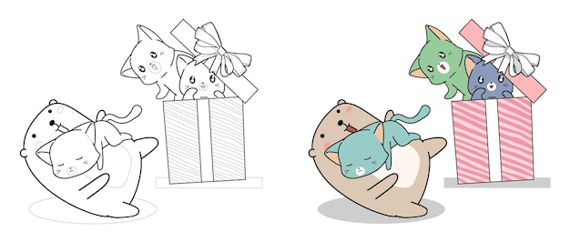 Urso kawaii e gatos no desenho animado da caixa de presente para colorir facilmente para crianças