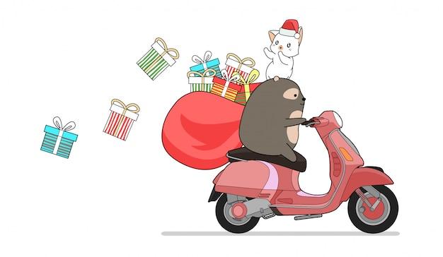 Urso kawaii está andando de moto vermelha com gato e presentes